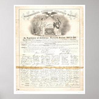 Enmienda constitucional que suprime la esclavitud  póster