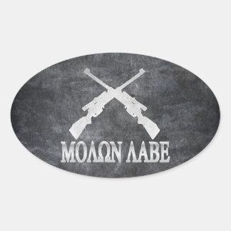 Enmienda cruzada Labe de los rifles de Molon 2da Pegatina Óval Personalizadas
