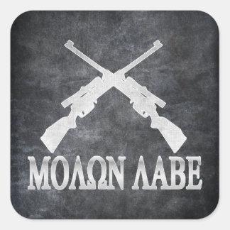 Enmienda cruzada Labe de los rifles de Molon 2da Pegatinas Cuadradas