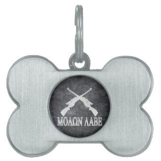 Enmienda cruzada Labe de los rifles de Molon 2da Placa De Nombre De Mascota