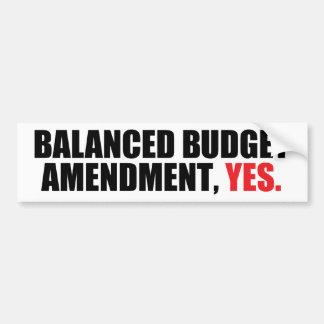 Enmienda del presupuesto equilibrado etiqueta de parachoque