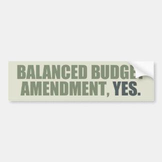 Enmienda del presupuesto equilibrado pegatina para auto