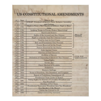 Enmiendas constitucionales de los E.E.U.U. ACTUALI Póster