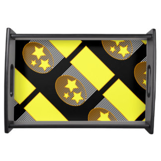 Ennegrezca del fondo negro amarillo d de 3 la bandeja