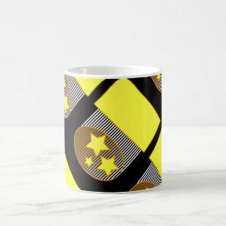 Ennegrezca del fondo negro amarillo d de 3 la taza