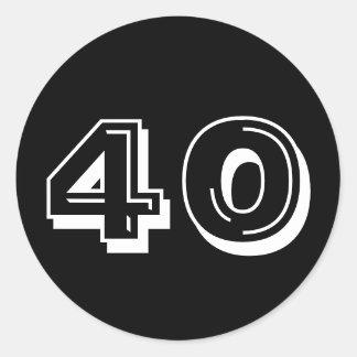 Ennegrezca el 40.o cumpleaños pegatina redonda