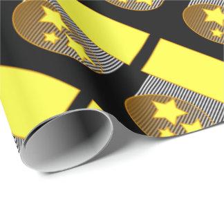 Ennegrezca el fondo negro de 3 estrellas amarillas papel de regalo