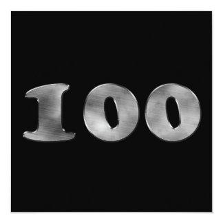 """Ennegrezca el número de plata 100 del 100o invitación 5.25"""" x 5.25"""""""