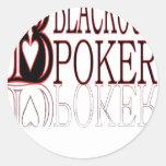 Ennegrezca hacia fuera el póker pegatina redonda