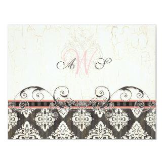 Ennegrezca 'la tarjeta (rosada) blanca de la invitación 10,8 x 13,9 cm