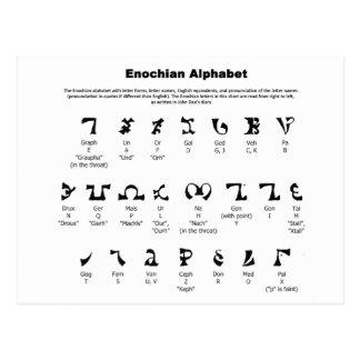 Enochian Alphabet Chart Post Card