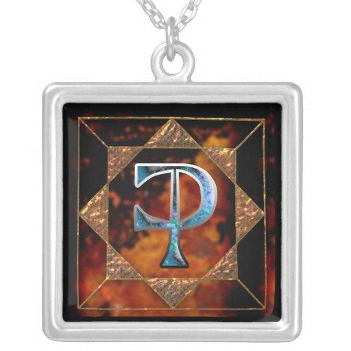"""enochian letter """"ceph"""" (z) square pendant necklace"""