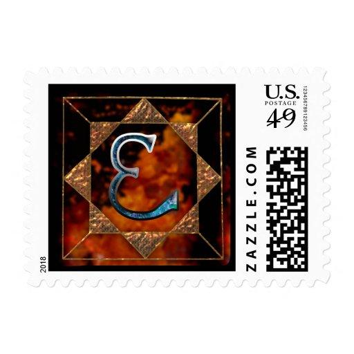 "enochian letter ""tal"" (m) postage stamp"