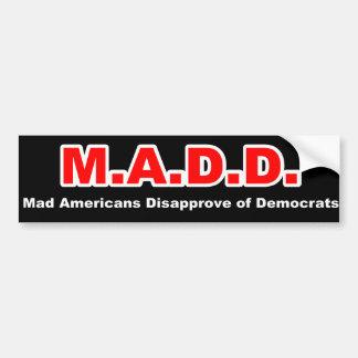 Enojado en Democrates Pegatina Para Auto