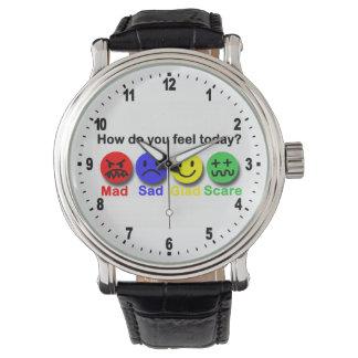 Enojado, triste, alegre y susto relojes de pulsera