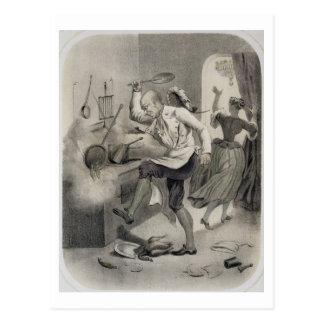 Enoje en la cocina, de una serie de depi de las tarjeta postal