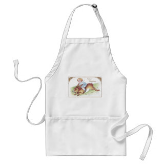 Enormous Easter Bunny Ridden by Tot Aprons