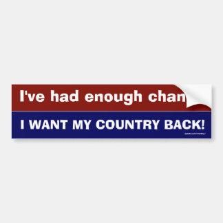 Enough Change Car Bumper Sticker