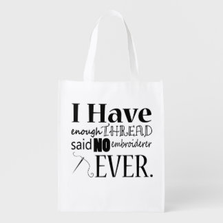 Enough Thread Embroidery Grocery Bag