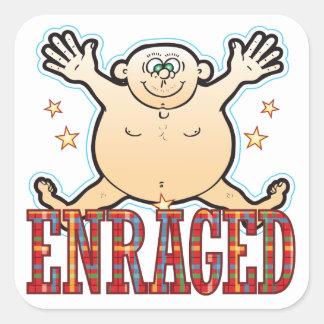 Enraged Fat Man Square Sticker