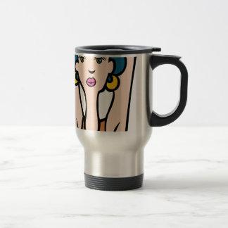 Enrarezca la cara del chica de la moda taza de viaje