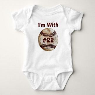 Enredadera a juego del bebé del béisbol de la ropa remeras