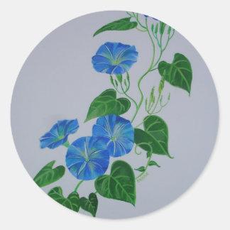 Enredadera azul pegatina redonda