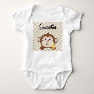 Enredadera infantil personalizada del mono, blanca playera