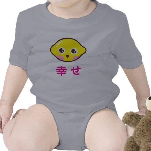 Enredadera linda del bebé del limón del kawaii con traje de bebé