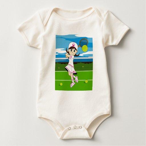 Enredadera linda del chica del tenis body para bebé