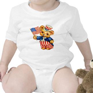 Enredadera patriótica del niño del oso del vintage traje de bebé