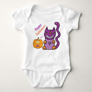 Enredadera púrpura del niño del gato y de la body para bebé