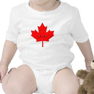 Enredadera roja linda del niño de la hoja de arce traje de bebé