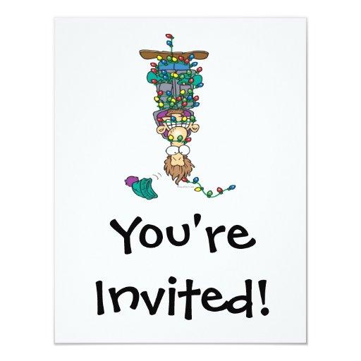 enredado en diseño divertido del dibujo animado de invitación 10,8 x 13,9 cm