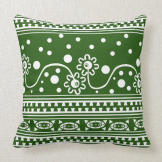 Enredo azteca de la cremallera en verde almohada
