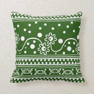 Enredo azteca de la cremallera en verde almohadas