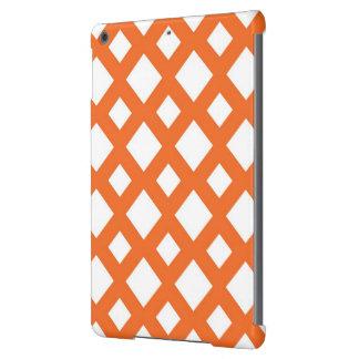 Enrejado anaranjado en blanco funda para iPad air