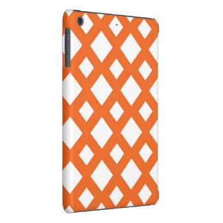 Enrejado anaranjado en blanco fundas de iPad mini retina