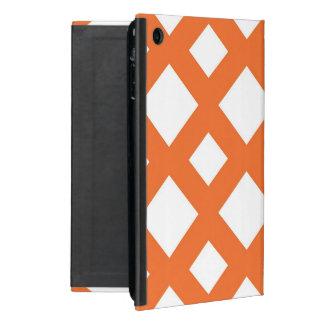 Enrejado anaranjado en blanco iPad mini carcasas