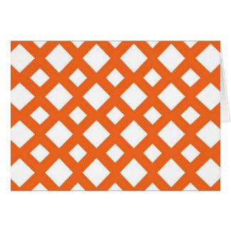 Enrejado anaranjado en blanco tarjeta de felicitación