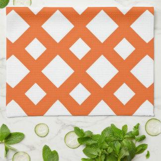 Enrejado anaranjado en blanco toalla de cocina