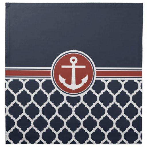 Enrejado azul blanco rojo del marroquí del ancla servilleta