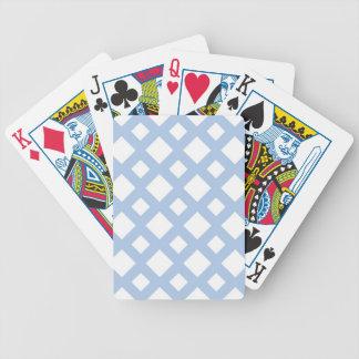 Enrejado azul claro en blanco barajas de cartas