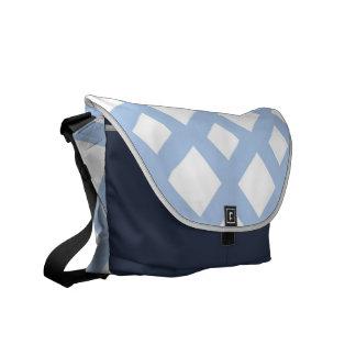 Enrejado azul claro en blanco bolsas messenger