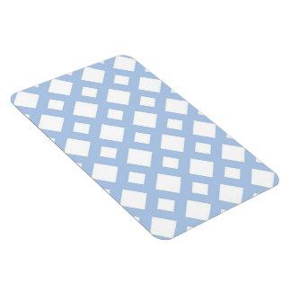 Enrejado azul claro en blanco imán foto rectangular