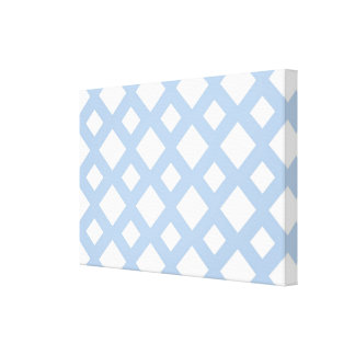 Enrejado azul claro en blanco impresiones en lona