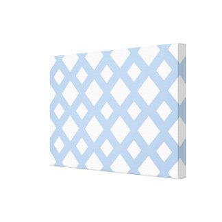 Enrejado azul claro en blanco impresion de lienzo