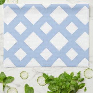Enrejado azul claro en blanco toallas de cocina