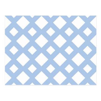 Enrejado azul claro en blanco postal