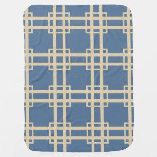 Enrejado azul de los humores de la especia de mantitas para bebé